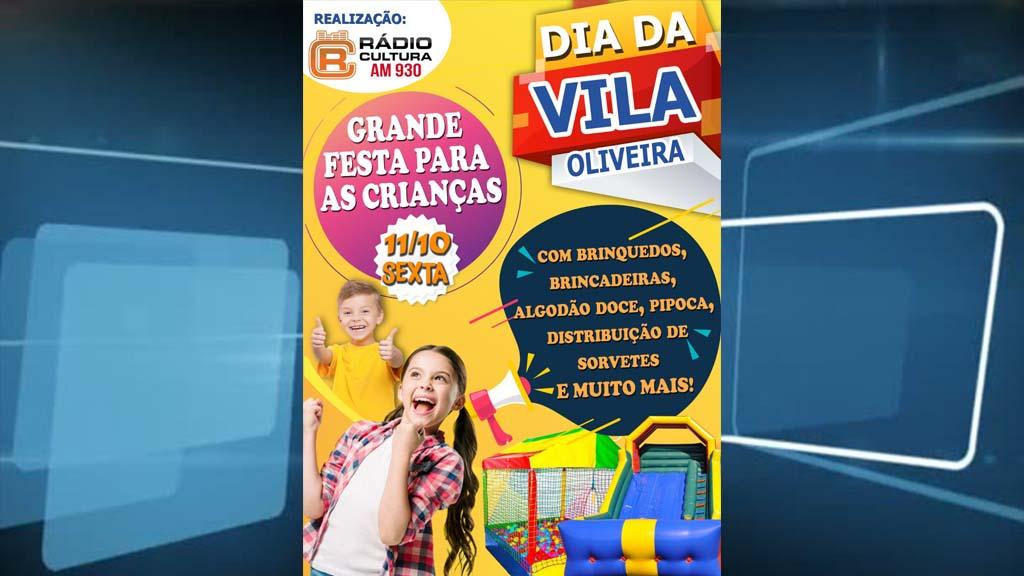 Dia da Vila Oliveira continua nesta sexta com uma grande festa para as crianças